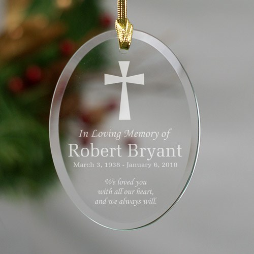 Engraved In Loving Memory Cross Oval Glass Ornament 819194