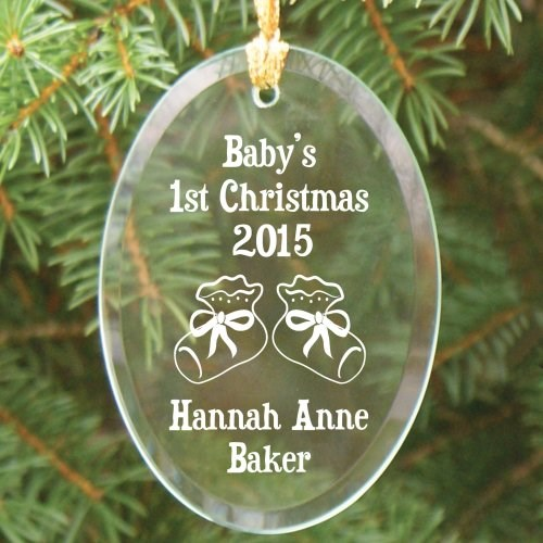 Engraved First Christmas Glass Ornaments