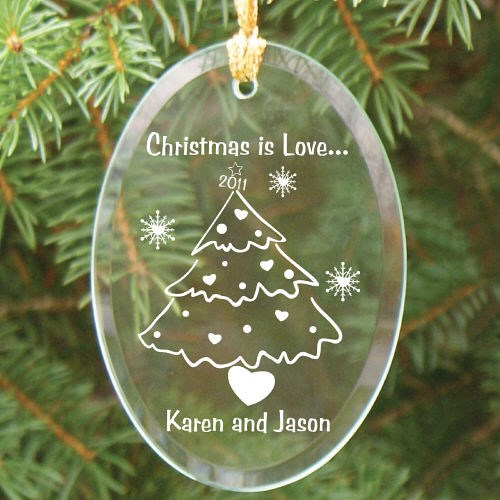 Engraved Christmas Tree Glass Ornament for Couples
