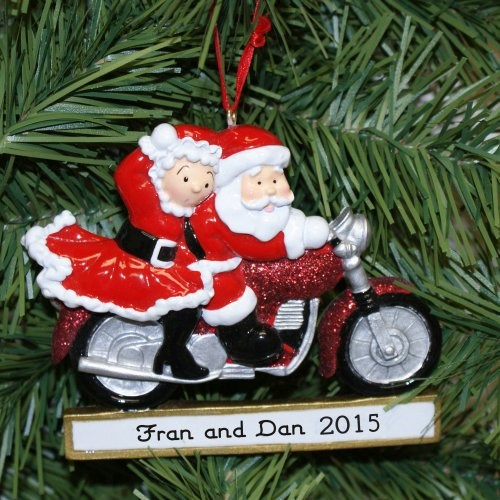 Personalized Mrs Claus and Santa Motorcycle Christmas Ornaments