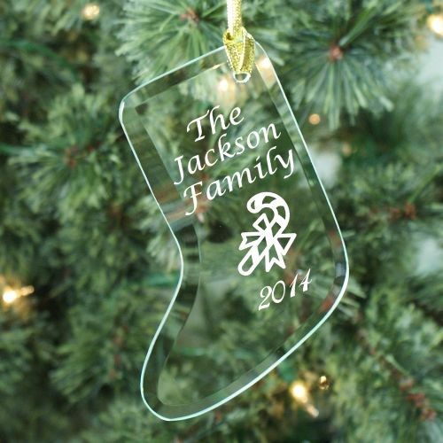 Engraved Christmas Glass Stocking Ornament