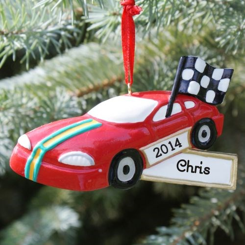 Personalized Race Car Christmas Tree Ornament
