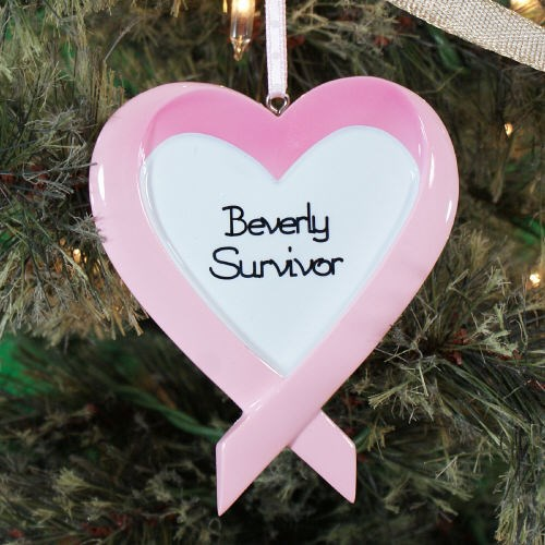 Personalized Breast Cancer Heart Ornament 860773