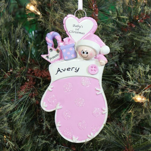Baby's First Christmas Pink Mitten Ornament 861193