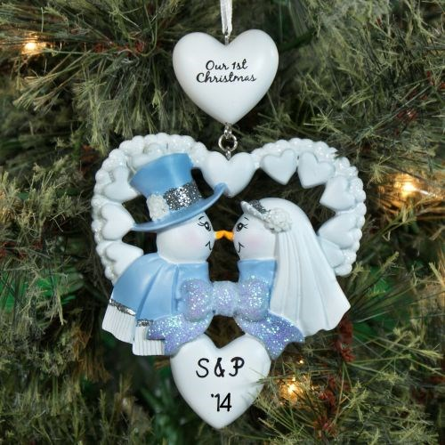 Personalized First Christmas Snow Couple Ornament 861293