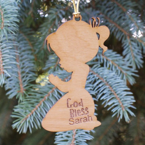 Engraved Praying Girl Wooden Christmas Ornaments