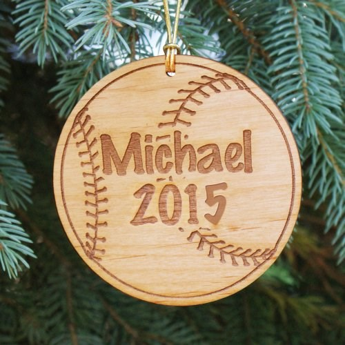 Engraved Baseball Christmas Ornaments