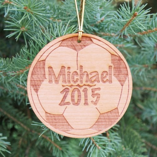 Personalized Soccer Ball Christmas Wood Ornaments