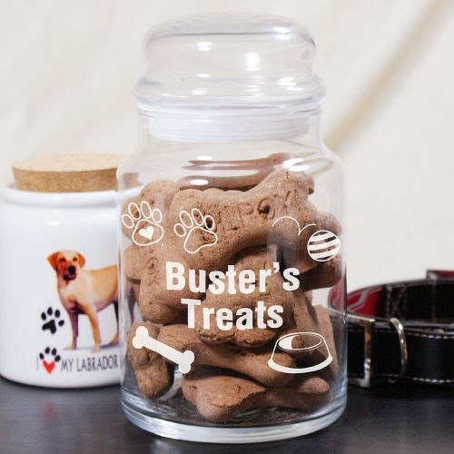 Personalized Doggy Treat Goodies Glass Jar
