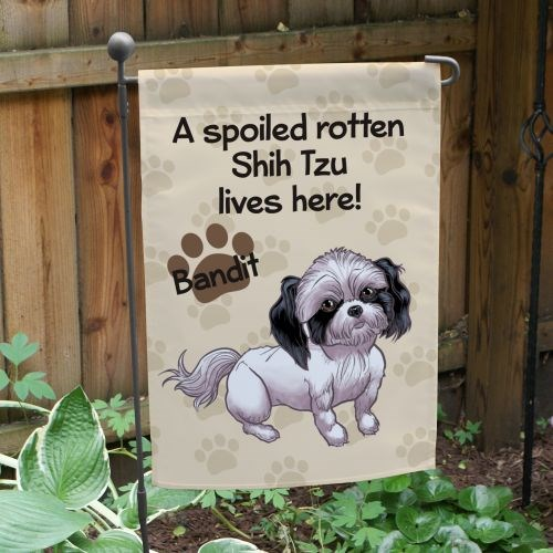 Personalized Shih Tzu Spoiled Here Garden Flag 8306641ST2
