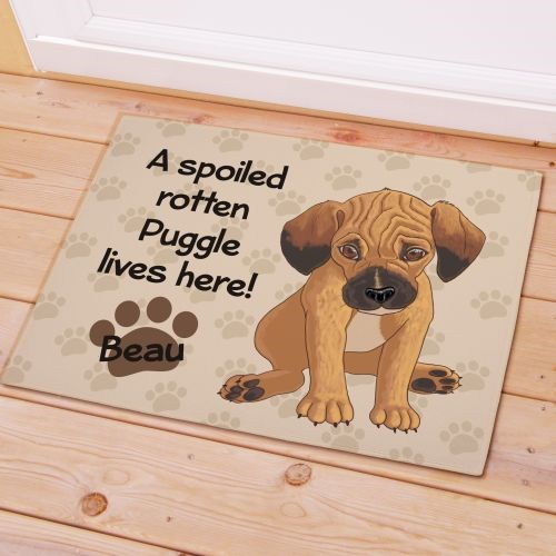 Personalized Puggle Spoiled Here Doormat 8316641PG7X
