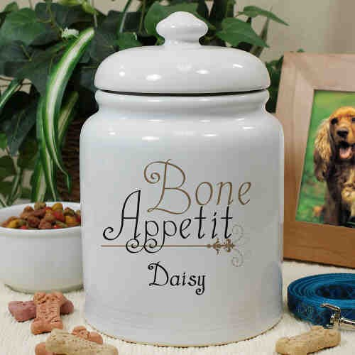 Personalized Ceramic Bone Appetit Treat Jar U659115
