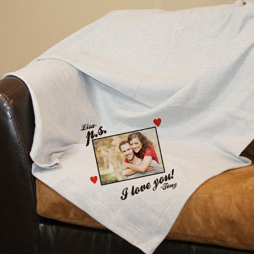 Personalized P.S. I Love You Photo Fleece Blanket D38721