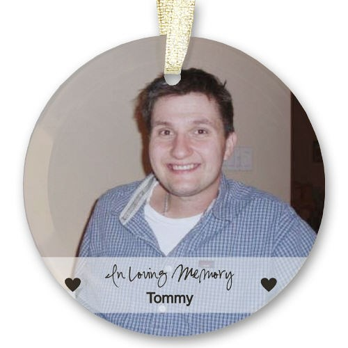 Personalized Memorial Photo Beveled Glass Ornament U70069