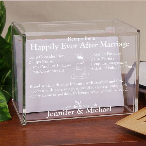 Engraved Happily Ever After Acrylic Recipe Box L268461
