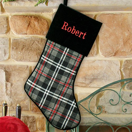 Embroidered Grey Plaid Stocking S105689