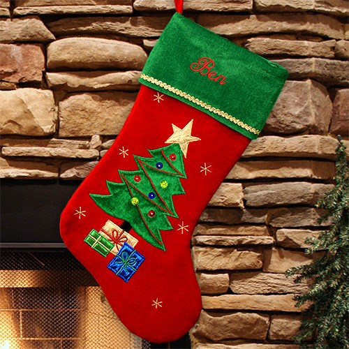 Christmas Tree Embroidered Stocking S34609