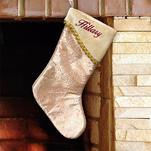 Embroidered Glitter Swirls Gold Christmas Stocking | Personalized Stocking