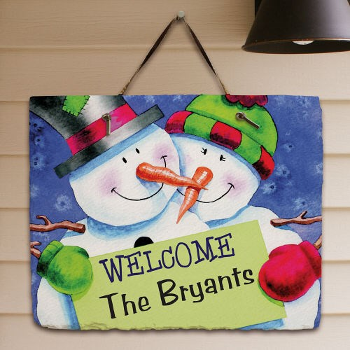 Personalized Snowman Welcome Slate Plaque 63131497