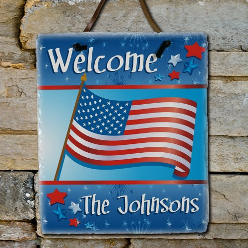 Welcome July 4th Personalized Slate Plaque 63133396