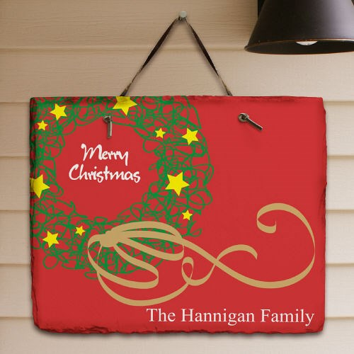 Personalized Christmas Wreath Welcome Slate Plaque 63137857