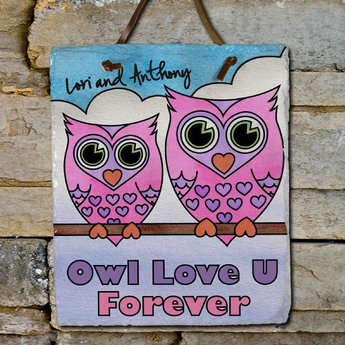 Personalized Owl Love U Forever Slate Plaque 63138746