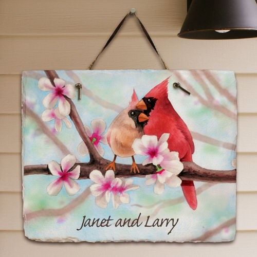 Personalized Spring Cardinals Slate Plaque 63140307