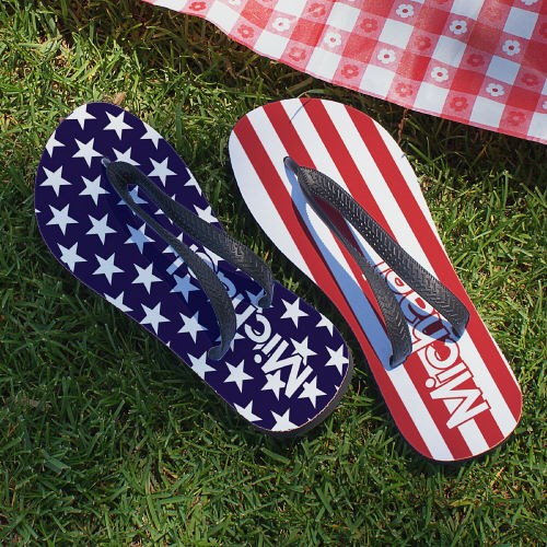Personalized Stars and Stripes Flip Flops U673459