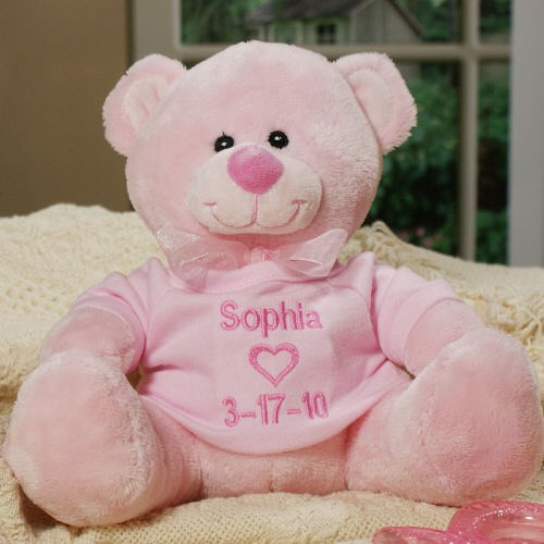 Embroidered New Baby Girl Pink Teddy Bear