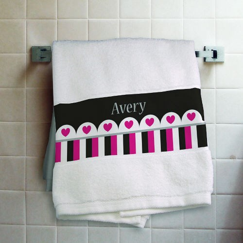 Personalized Hearts and Stripes Bath Towel 83168926