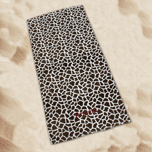 Embroidered Giraffe Print Beach Towel E657477
