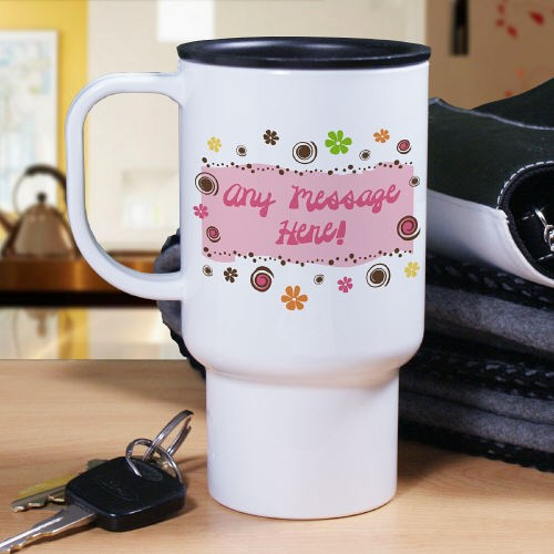 Personalized Floral Retro Travel Mug T228680