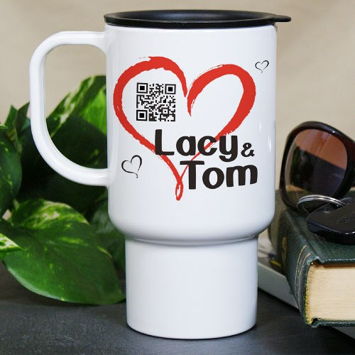 Personalized Romantic Message Barcode Travel Mug T249780