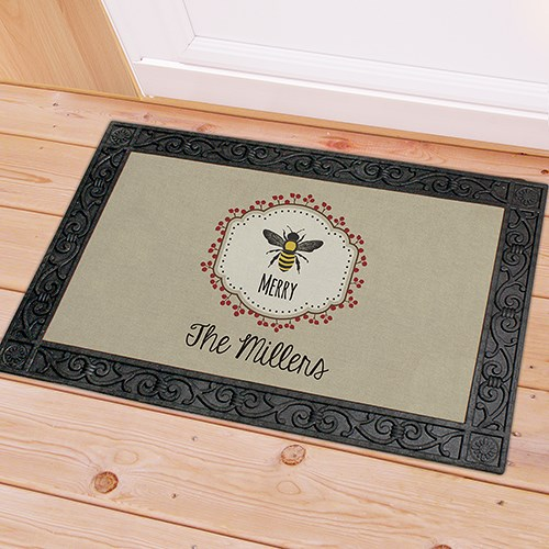 Personalized Bee Merry Doormat U1065083X