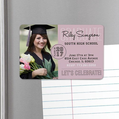 Personalized Class Of Graduation Photo Invitation Magnet U753532