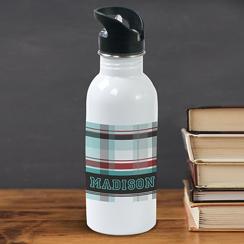 Personalized Blue Plaid Water Bottle U780120