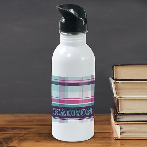 Personalized Purple Plaid Water Bottle U780220