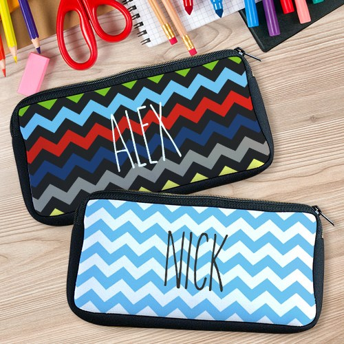Personalized Any Name Chevron Pencil Case U78037