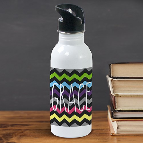 Personalized Chevron Water Bottle U781620