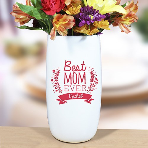 Personalized Best Mom Ever Vase U939818