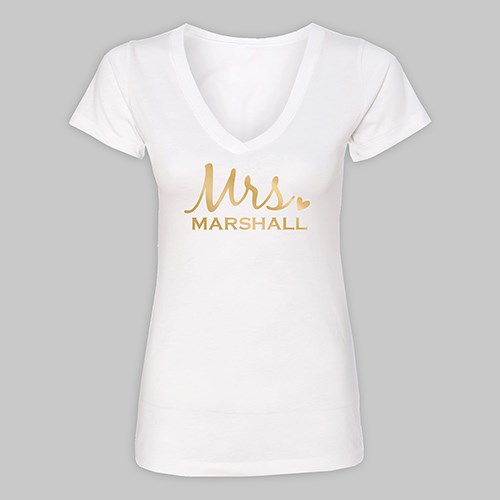 Personalized Mrs. White V-Neck T-Shirt VN39442WHX