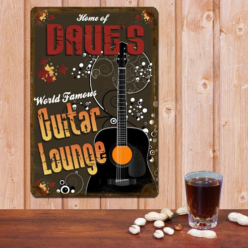 Personalized Guitar Lounge Metal Wall Sign 631864