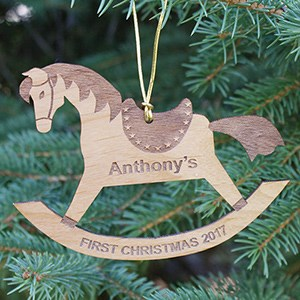 Engraved Rocking Horse Christmas Wood Ornaments