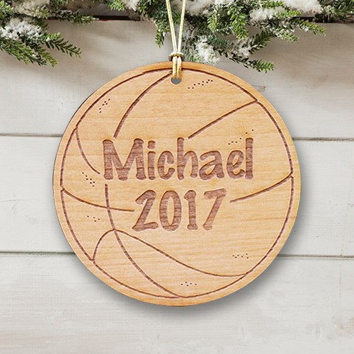 Personalized Basketball Wooden Christmas Ornament