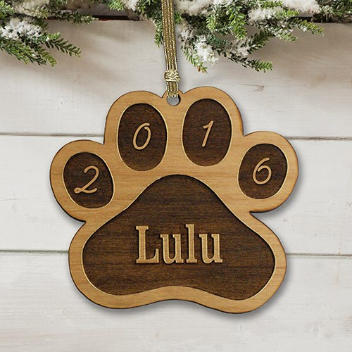 Personalized Dog Paw Wooden Ornament W87660
