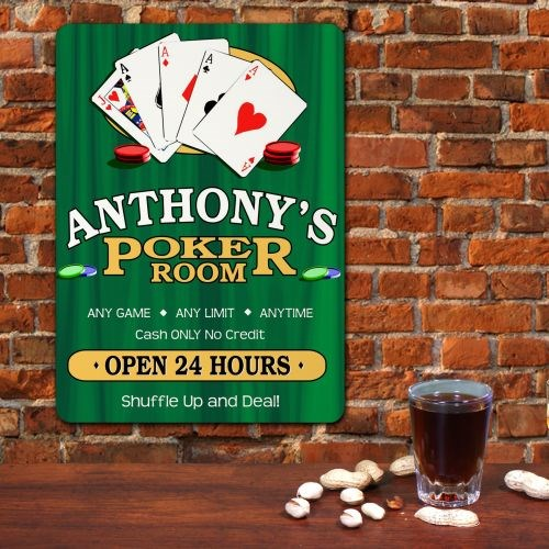 Personalized Poker Room Wall Sign for Him
