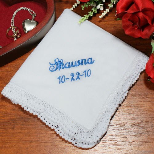 Embroidered Something Blue Wedding Handkerchief 334855
