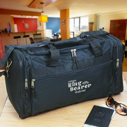 Personalized Ring Bearer Black Duffel Bag