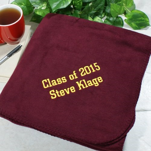 Embroidered Graduation Fleece Throw Blanket