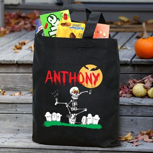 Personalized Halloween Trick or Treat Tote Bag